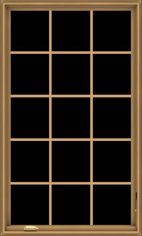 WDMA 36x60 (35.5 x 59.5 inch) Pine Wood Dark Grey Aluminum Crank out Casement Window without Grids