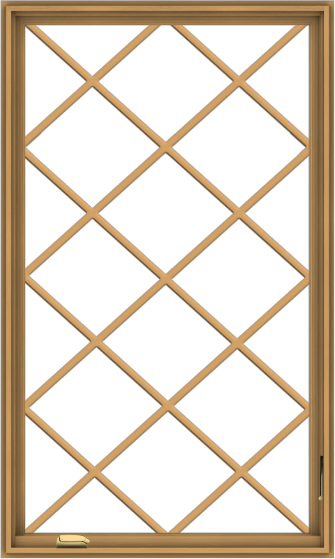 WDMA 36x60 (35.5 x 59.5 inch) Pine Wood Dark Grey Aluminum Crank out Casement Window without Grids with Diamond Grills