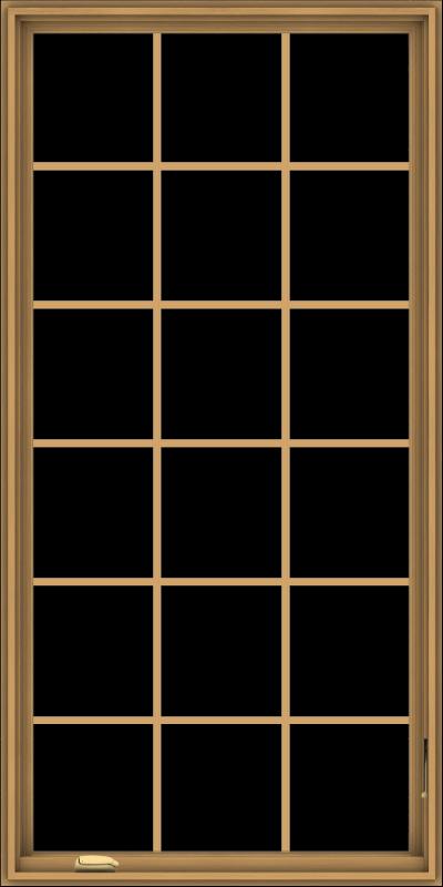 WDMA 36x72 (35.5 x 71.5 inch) Pine Wood Dark Grey Aluminum Crank out Casement Window without Grids