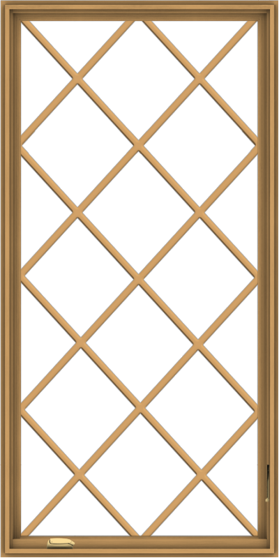 WDMA 36x72 (35.5 x 71.5 inch) Pine Wood Dark Grey Aluminum Crank out Casement Window without Grids with Diamond Grills