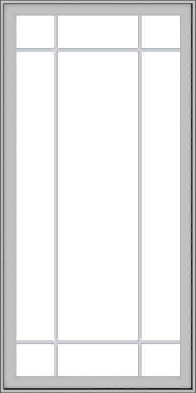 WDMA 36x72 (35.5 x 71.5 inch) Pine Wood Light Grey Aluminum Push out Casement Window with Prairie Grilles