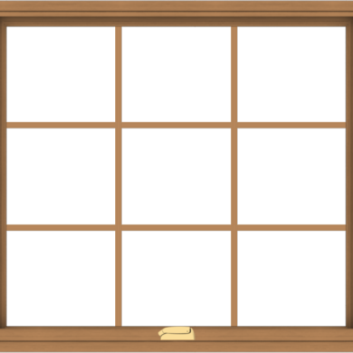 WDMA 40x36 (39.5 x 35.5 inch) Oak Wood Dark Brown Bronze Aluminum Crank out Awning Window with Colonial Grids Interior