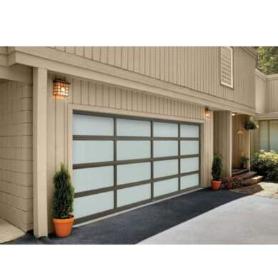 WDMA 16x7 Automatic Galvanized Steel Flap Style Frosted Glass Garage Door Prices Remote Control
