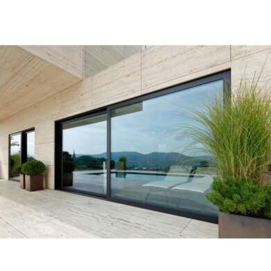 WDMA 6*2.4m Two Panels Aluminum Glass Lift Sliding Door With Effect Wall Decoration