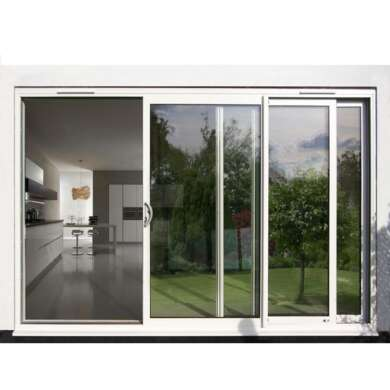 WDMA Aama Fancy 96 X 80 Balcony 3-track Powder Coated Aluminium Glass Sliding Patio Door