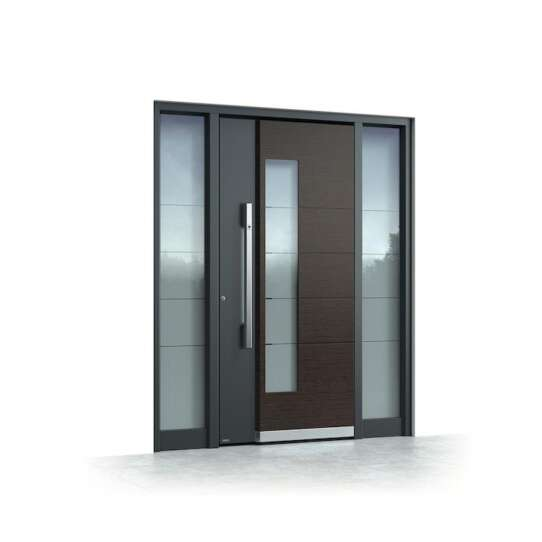 China WDMA Aluminium Double Front Entry Storm Swing Glass Hinged Door With Tempered Glass Design