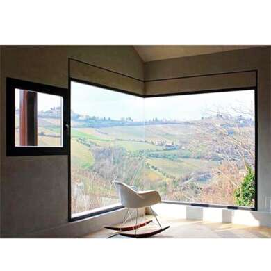 WDMA Aluminium Glass Corner Window Design L Shaped Window Corner Butt Joint Glass Window