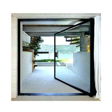 WDMA Aluminium Pivot Front Doors Glass Metal Pivoting Entry Doors For Residential Entrance