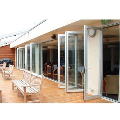 WDMA Aluminum Frame Tempered Glass Folding Door Bifold Door Dividers