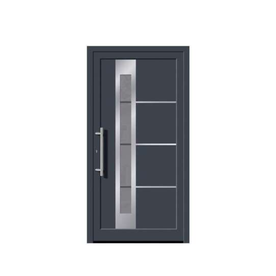 China WDMA America Exterior Commercial Aluminium Insulated Tempered Glass Front Door Hinged Swing Door