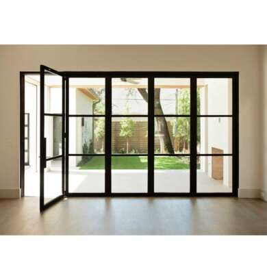 WDMA Best Selling Aluminium Folding Door Glass Partition With Grill Design