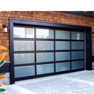 WDMA Black Aluminum Glass Full View Garage Door Mirriored Glass Panoramic Garage Door For House