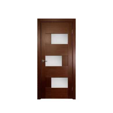 WDMA Brown Color Wooden Interior Glass Door Flush Door Design Modern House Door
