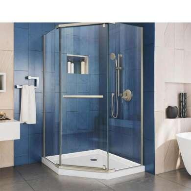 WDMA Bypass Black Framed Corner Sliding Shower Cabin Shower Door Shower Enclosure