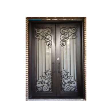 WDMA Cheap Double Wrought Iron Interior Glass Sliding Door Design