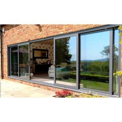 WDMA China 8 Ft Interior Door Aluminium Frame Hanging Trackless Glass Sliding Barn Door Mechanism For Dressing Room