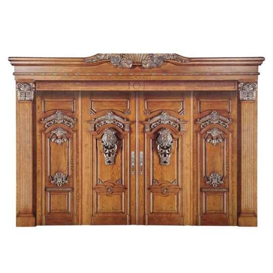 WDMA China Main Double Door Wooden Main Entrance Door Carving Design