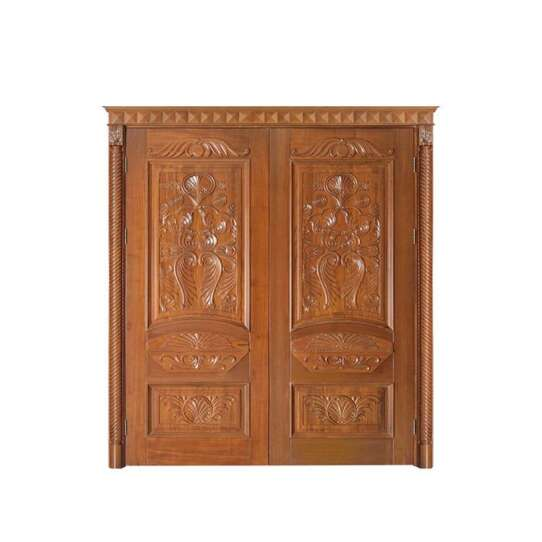 China WDMA China Main Double Door Wooden Main Entrance Door Carving Design