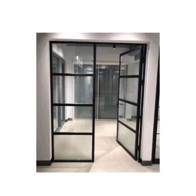 WDMA China Used Customized Economy Aluminium Kitchen Swing Double Door Flush Design With Glass