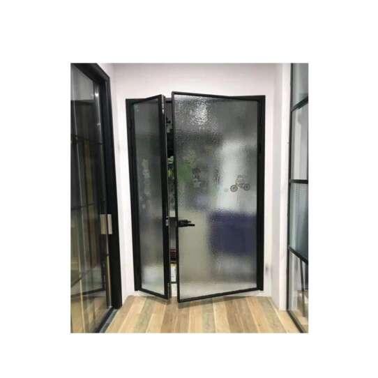 China WDMA China Used Customized Economy Aluminium Kitchen Swing Double Door Flush Design With Glass