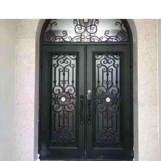 WDMA Church Use Simple Design And Arched Top Laser Cut Iron Wrought Sheet Iron Double Door Models