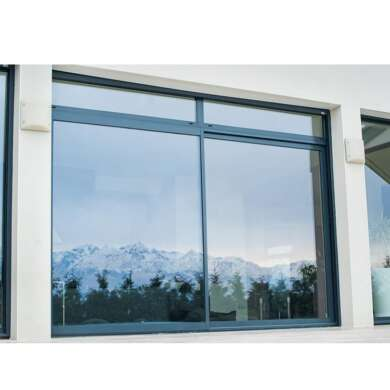WDMA Commercial Big Brown Aluminum 4 Panel Blue Tinted Glass Roller Sliding Windows Mosquito Netting With Transom Window