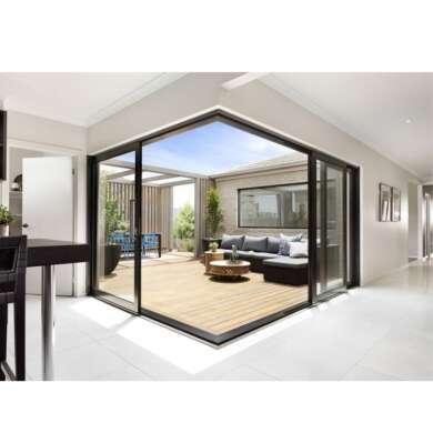 WDMA Exterior Conceal Stacking Sliding Door External Wall Balcony Slim Aluminium Corner Sliding Glass Door