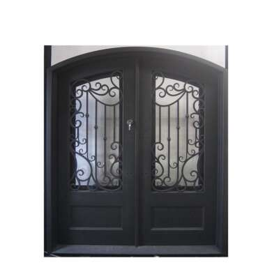 WDMA Exterior Security Entrance Laser Cut Double Wrought Iron Wine Cellar Door With Sidelight