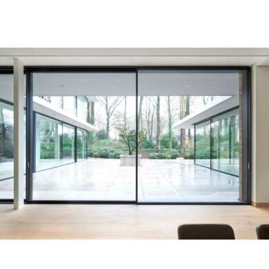 WDMA Exterior Waterproof 96 X 80 Slim Frame External Black Aluminium Sliding Double Glazed Glass Door Systems For Entrance