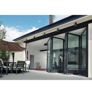 WDMA Fancy European Style Curved Glass Sliding Folding Door Aluminium Framed Glass Door Exterior Modern