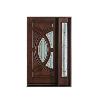 WDMA Fancy Indoor Entrance Wooden Double Panel Door With Single Glass Window And Frame Design
