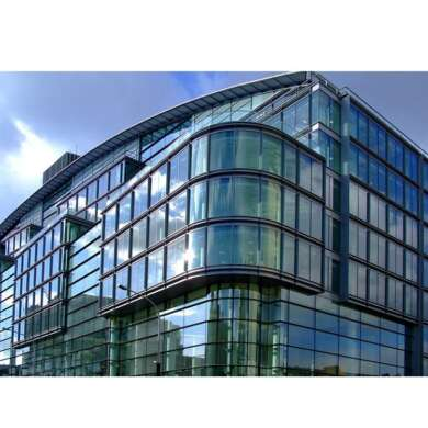 WDMA Frameless Mirror Curved Double Glass Curtain Wall With Operable Awning Window