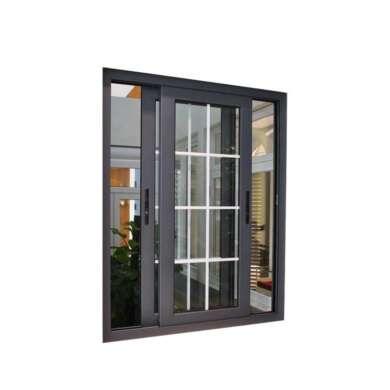 WDMA Guangzhou Wood Look Finish Aluminium Sliding Wood Window Door With Mosquito Net Grill Design