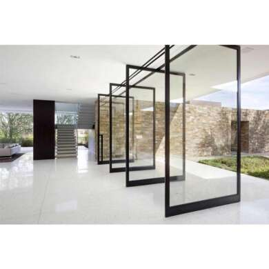 WDMA Hinge Aluminium Glass Office Entry Entrance Pivot Door Without Frame Commercial Design Price