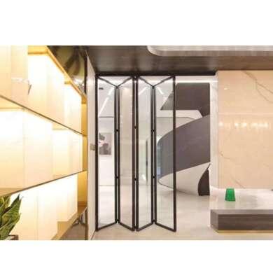 WDMA House Interior Slim Framed Aluminum Bi Folding And Sliding Glass Panel Doors Interior 84x80