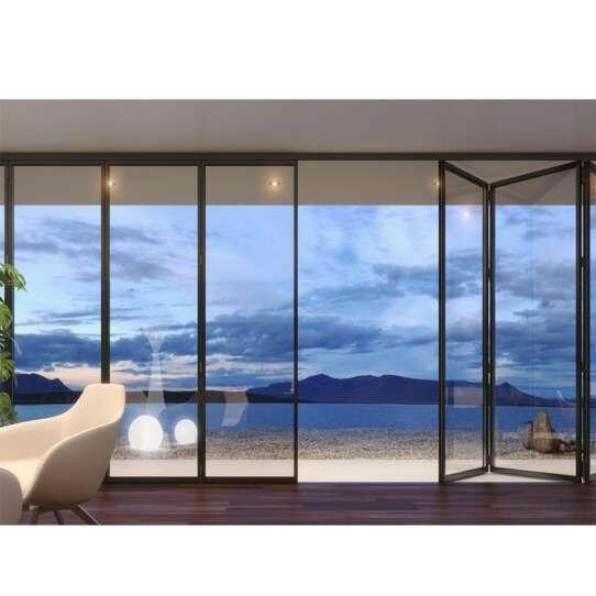 China WDMA House Interior Slim Framed Aluminum Bi Folding And Sliding Glass Panel Doors Interior 84x80