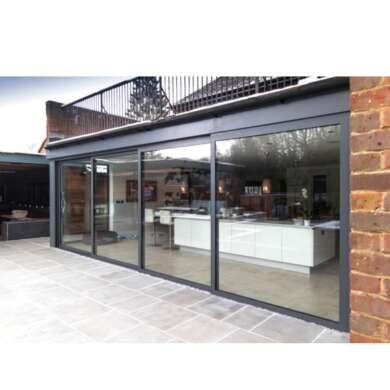 WDMA Hurricane Impact Aluminium 4 Panel Triple Glazing Sliding Patio Doors Stacking Door For Residential Main Entrance