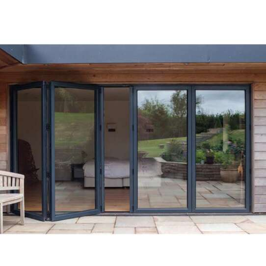 China WDMA Hurricane Impact Patio Bifold Doors Soundproof 2 Panel Aluminium Folding Doors For Exterior Entrance