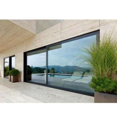WDMA Large Kitchen Black Frame Slim Frame Sliding Glass Doors