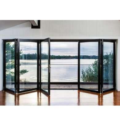 WDMA Large Opening Space Interior Alu Profiles Soundproof Glass Folding Door