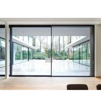 WDMA Large Outdoor Electric Automatic Sensor Aluminium Glass Sliding Gate Door