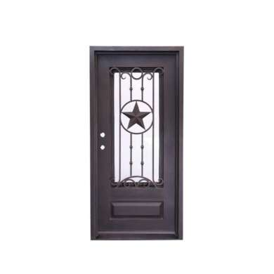 WDMA Laser Cut Antique Old Wrought Iron Front Single Door For Luxury Villa