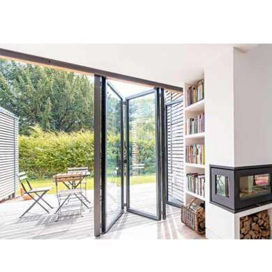 WDMA Light Black Aluminum Bifolding Door With Movable Fly Screen