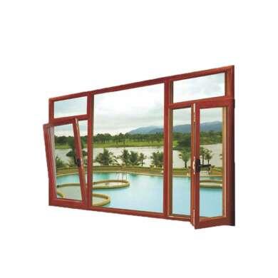 WDMA Luxurious American Grill Aluminium Clad Wood Double Glazed Doors And Window Tilt turn Fenster