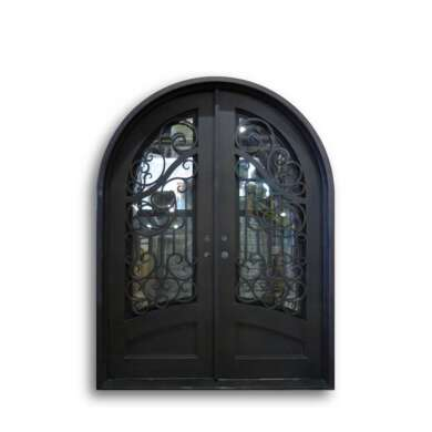 WDMA Modern Italian Pattern Antique Garden Use Arch Wrought Iron Door Front Gate Model