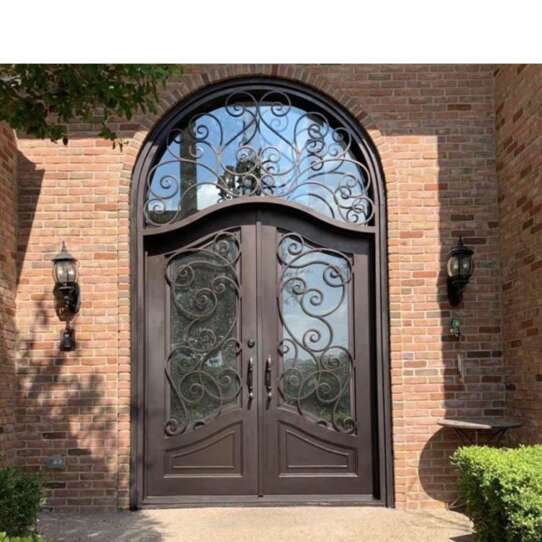 China WDMA Nigeria Exterior Outdoor Wrought Front Iron Security Grill Door And Windows Design