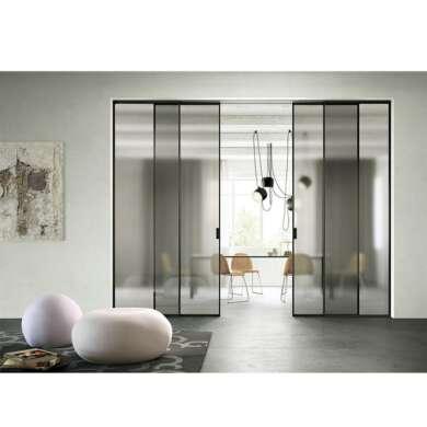 WDMA Soft Close Interior Office Aluminium Double Glass Sliding Door