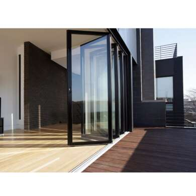 WDMA Sound-proof Double Glass Automatic Aluinum Bi Folding Folding Door