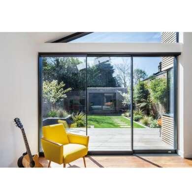 WDMA Sound Proof Inline Slim Frame Soft Closing Aluminium Sliding Shop Patio Door Unbreakable Glass Door Systems