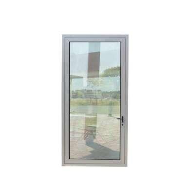 WDMA Waterproof Toilet Door Design Aluminium Frame Bathroom Swing Glass Door With Flower Design